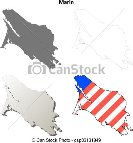 438x470 Marin County, California Outline Map Set. Marin County, Eps