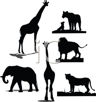 331x350 Royalty Free Clipart Image Collection Of Wild Animal Silhouettes