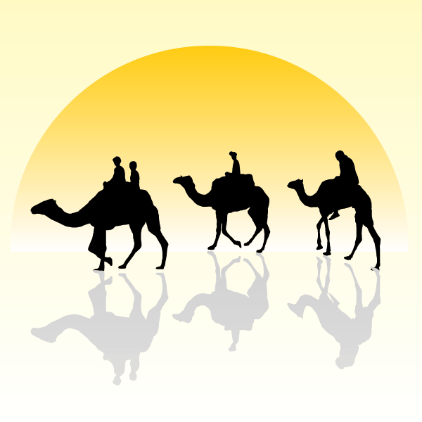 600x600 Camel Caravan Silhouette With Sunset, Vector Images