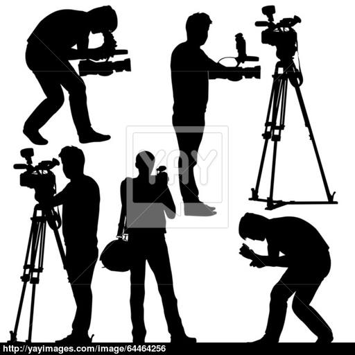 512x512 Cameraman With Video Camera. Silhouettes On White Background. Ve