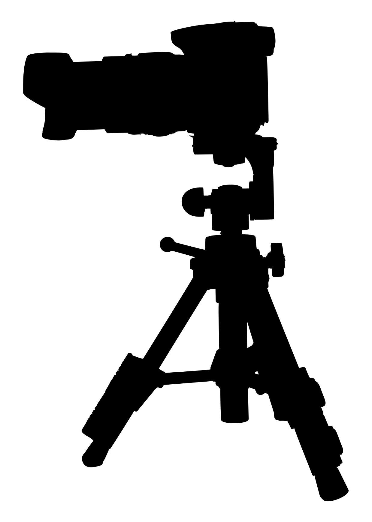 1239x1740 Camera On Tripod Silhouette 2 Clipart