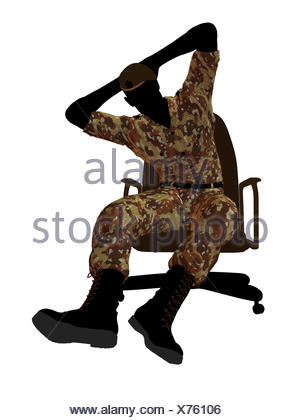 300x420 Male Soldier Sitting In A Chair Illustration Silhouette Stock