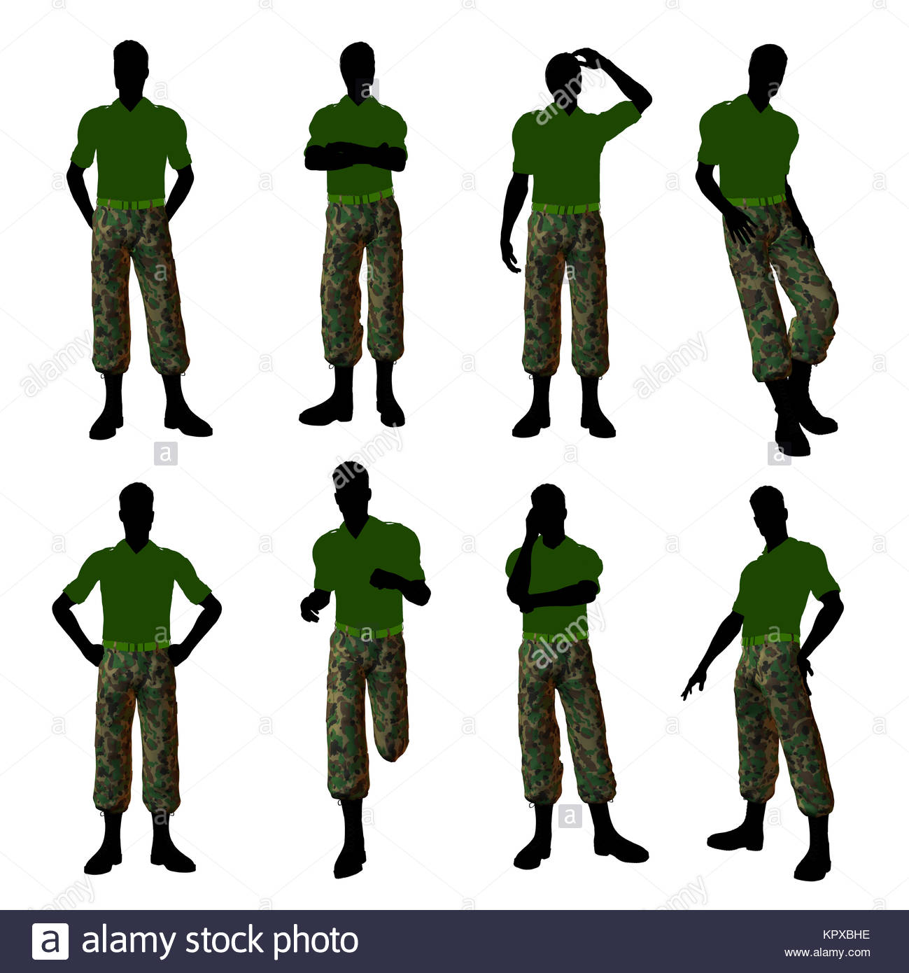 1299x1390 Male Soldier Dressed In Camouflage Illustration Silhouette Stock