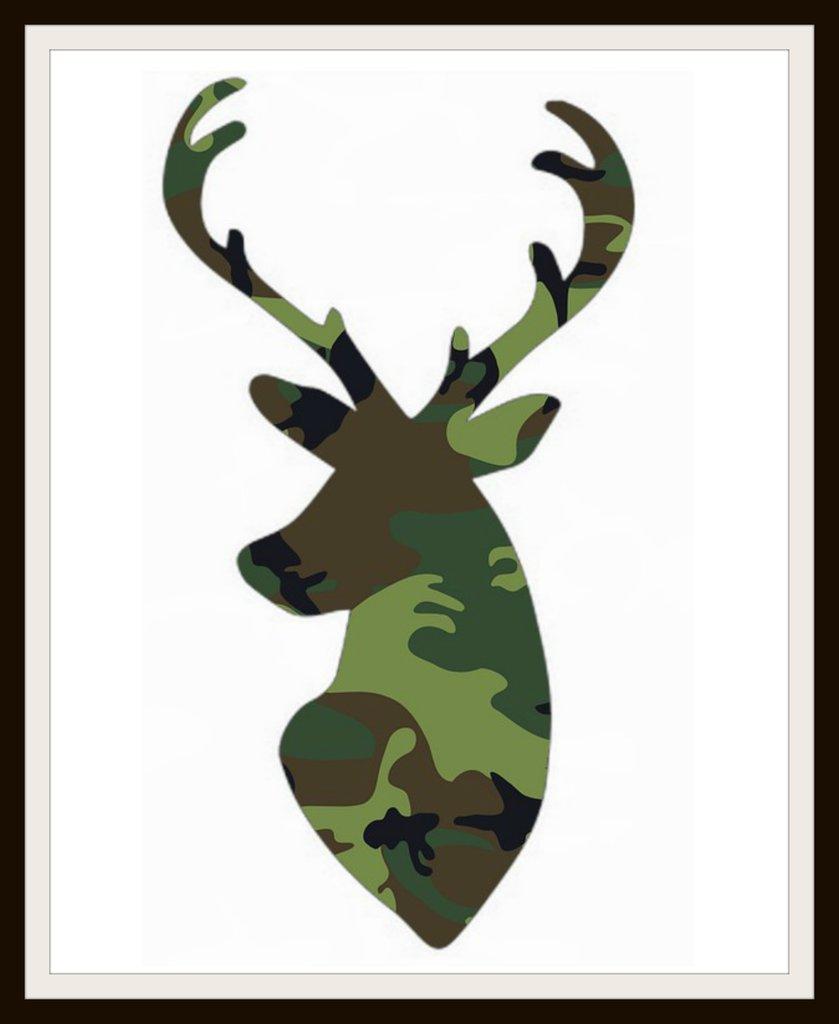 839x1024 Set Of 6 Camouflage Print Silhouette Deer Poster Art Prints 8 X 10