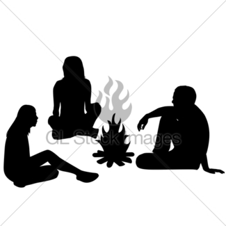 325x325 Group Of Tourists Relaxing Near Campfire Gl Stock Images