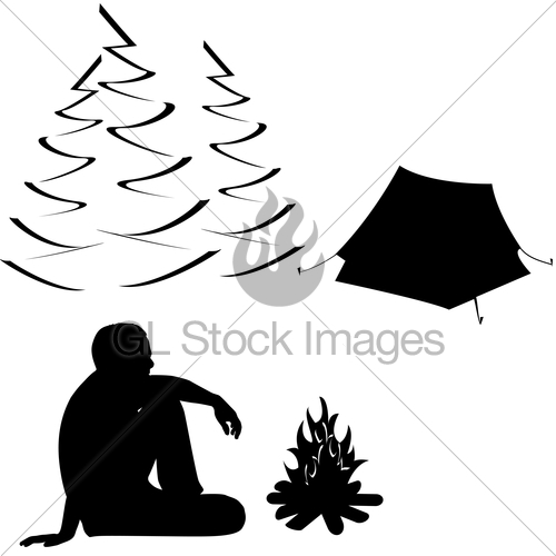 500x500 Male Tourist Sitting Near Campfire And Tent Gl Stock Images