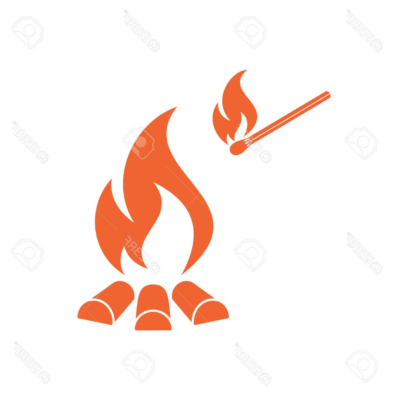 1300x1300 Best Hd Campfire Silhouette Vector Illustration Stock File Free