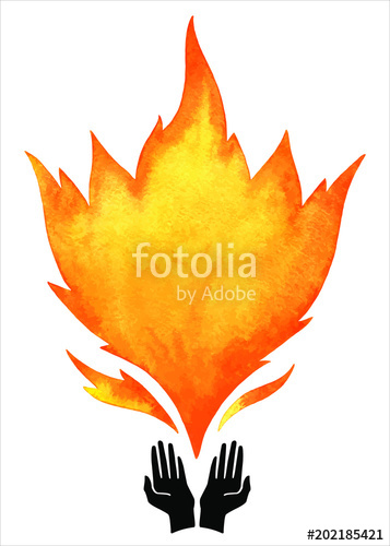 357x500 Watercolor Vector Fire With Tongues Of Flame And Open Hands