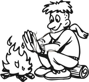 300x278 Black And White Silhouette Of A Boy Sitting In Front Of A Campfire