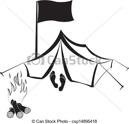 450x434 Camping Site With Tent And Campfire. Vector Camping Site Vector