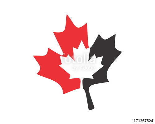 500x400 Silhouette Canada Maple Leaf Icon Image Vector Stock Image