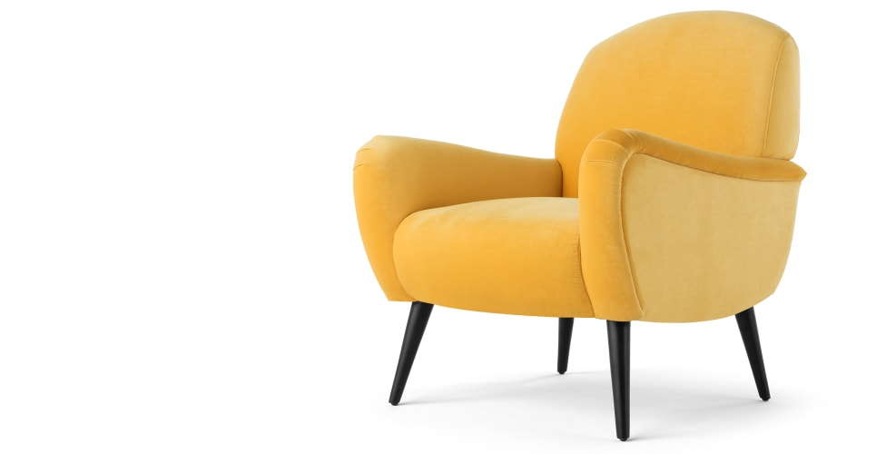 965x500 Delilah Accent Chair, Canary Yellow Velvet