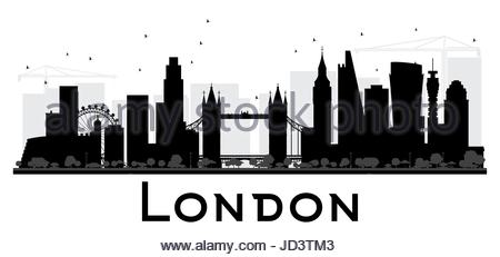 450x231 London City Skyline Black And White Silhouette. Vector