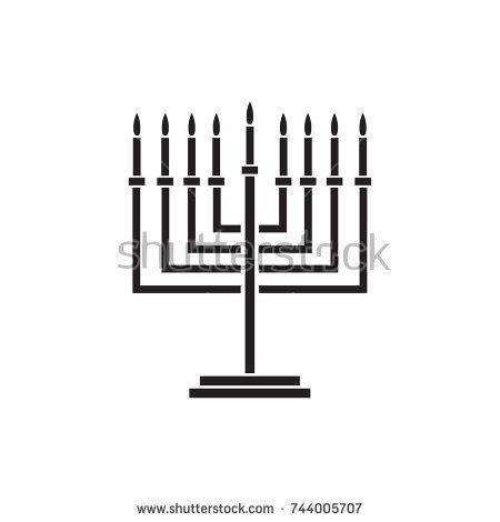 450x470 Menorah Hanukkah Icon. Jewish Holiday Symbol Menorah