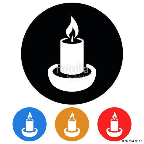 500x500 Circular, White (Silhouette) Candle Icon. Four Color Variations