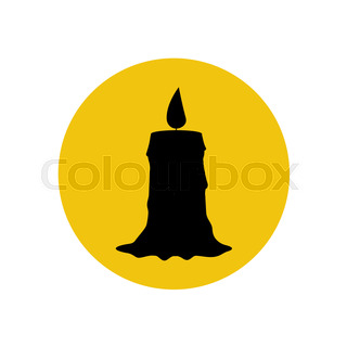 320x320 Vector Silhouette Of The Candle On White Background Stock Vector