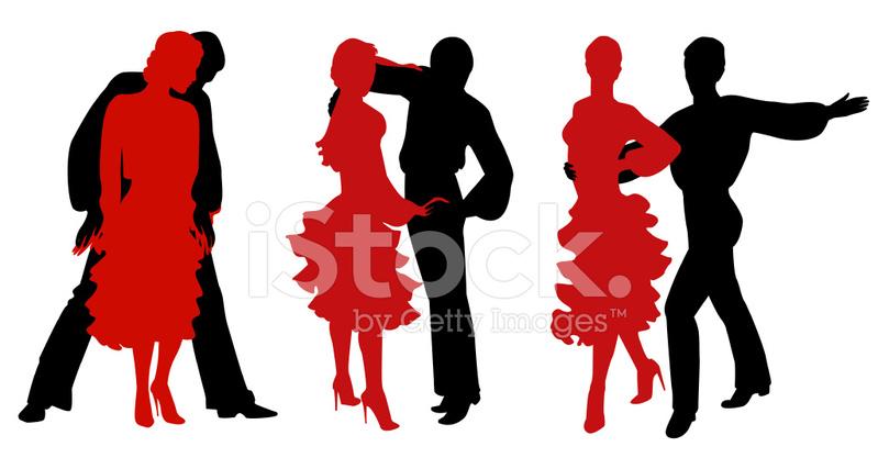 799x427 Latin Dance Silhouettes Stock Vector
