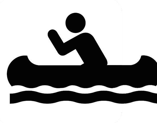595x465 Canoe Symbol Sign Isolated Icon Image Recreation Boat