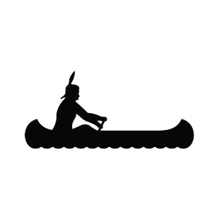 310x310 Native American Canoeing Silhouette Symbols And History Decals