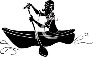 300x186 Silhouette Of A Man Rowing A Canoe