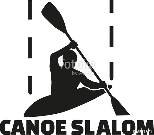 500x437 Canoe Slalom Silhouette With Word Stock Image And Royalty Free