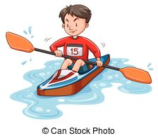 224x194 Black Silhouette Canoeing Athlete Sports Canoe With Paddle Clipart