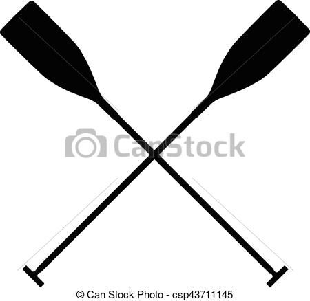 450x438 Real Sports Paddles For Canoeing. Black Silhouette Criss Eps