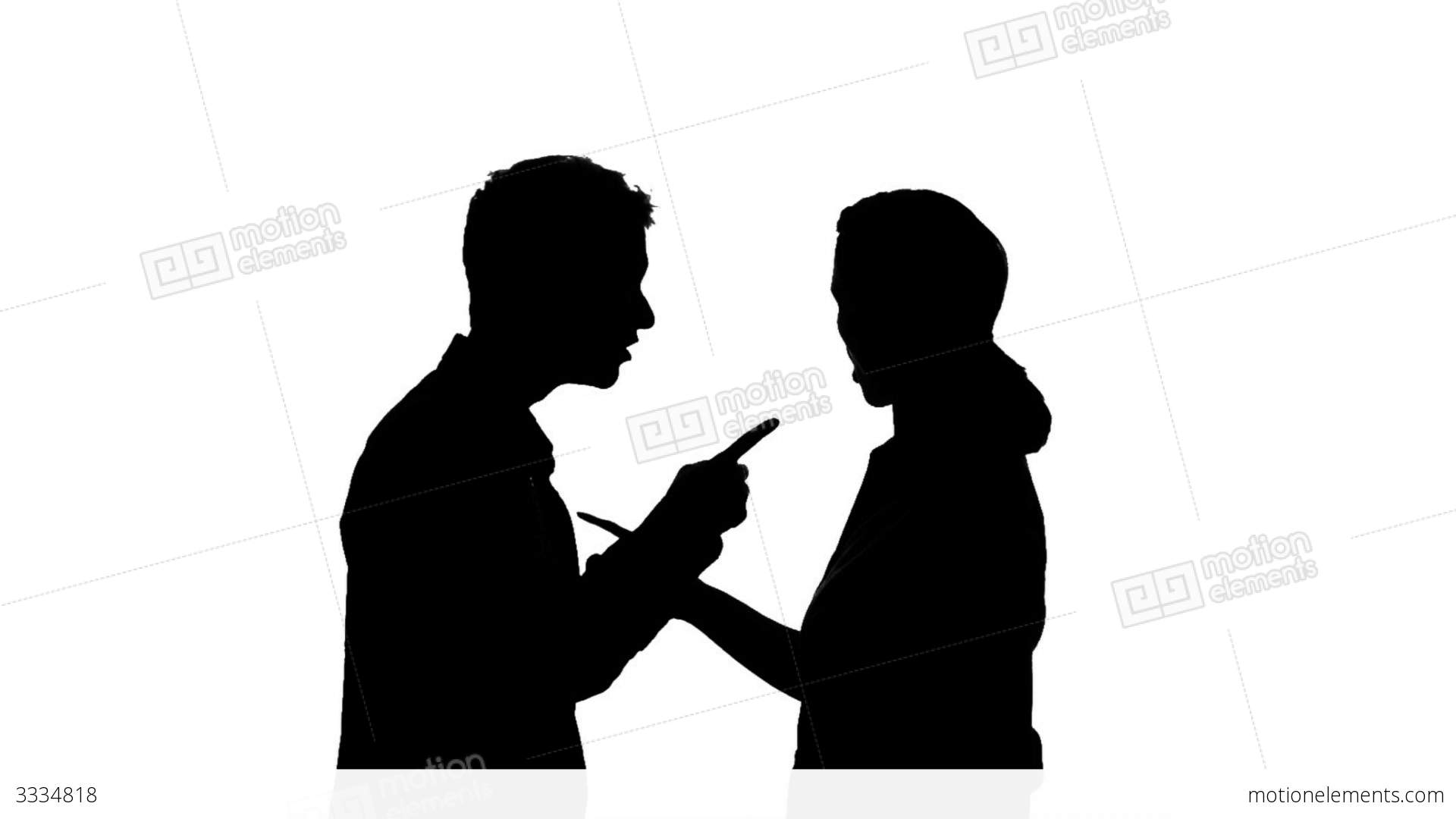 1920x1080 Couple Fighting Silhouette Stock Video Footage 3334818