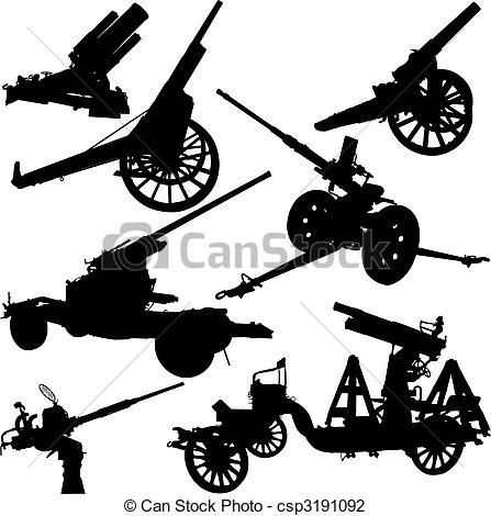 447x470 Ensemble, Moderne, Silhouettes, Vecteur, Historique, Canons