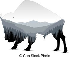 234x194 Silhouette Of Bull With Blue Evenning Mountain Landscape. Clipart