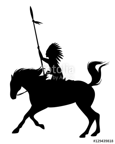 402x500 Indian Chief Riding A Rearing Up Horse Black Vector Silhouette