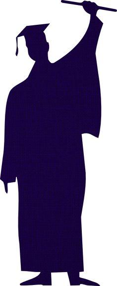 236x576 Graduation Graduate Silhouette Cap Gown Classroom Clipart