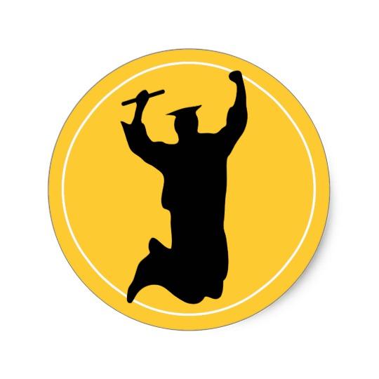 540x540 Celebrating Graduate In Cap Amp Gown Black Gold Classic Round