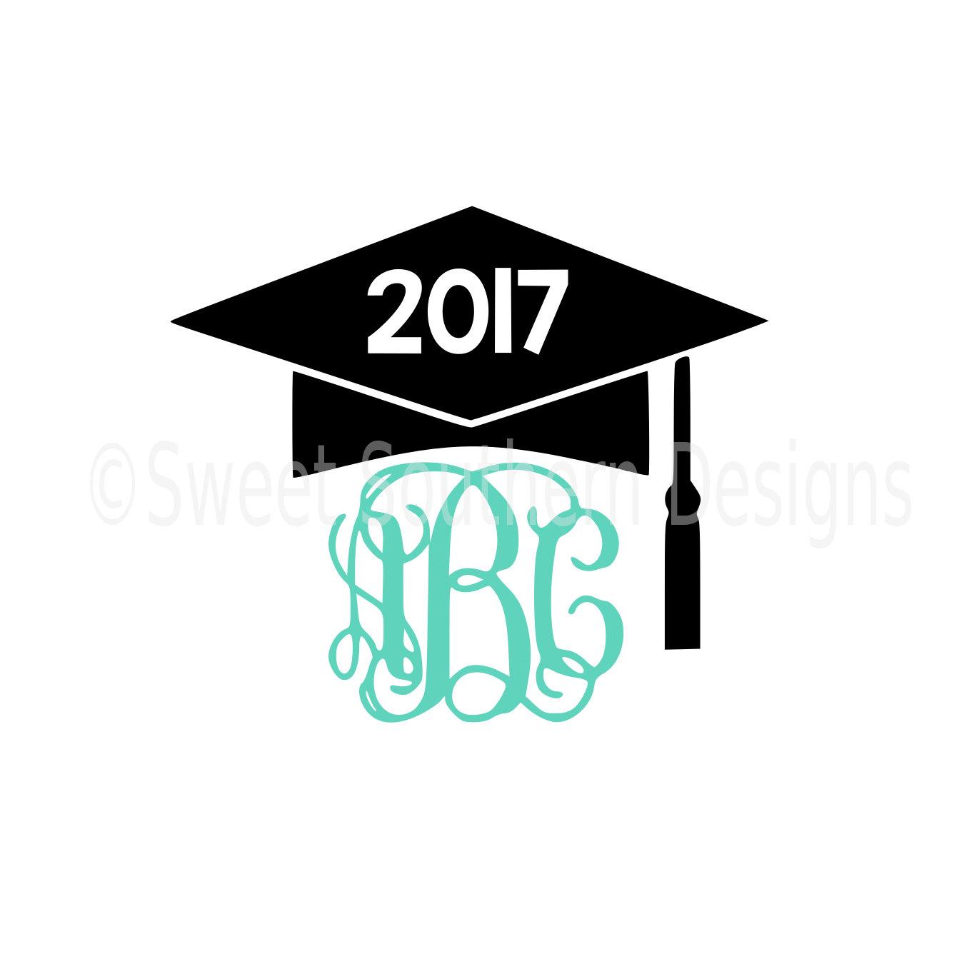 1350x1350 Monogram Graduation Cap Tassel 2017 Svg Instant Download Design