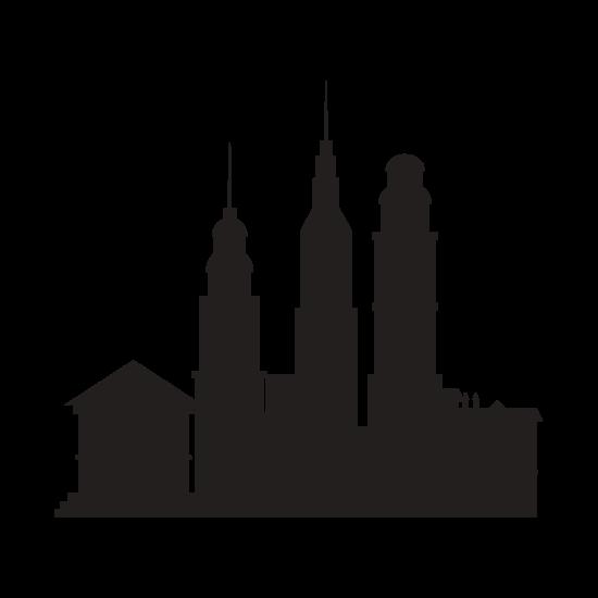 550x550 Cityscape Buildings Silhouette Vector Icon Illustration