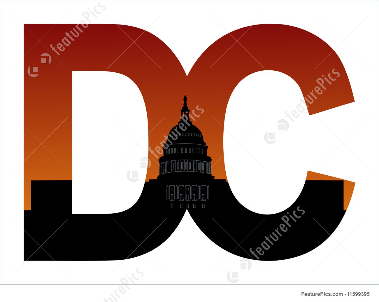 1300x1035 Dc Text With Us Capitol Building Stock Illustration I1599395