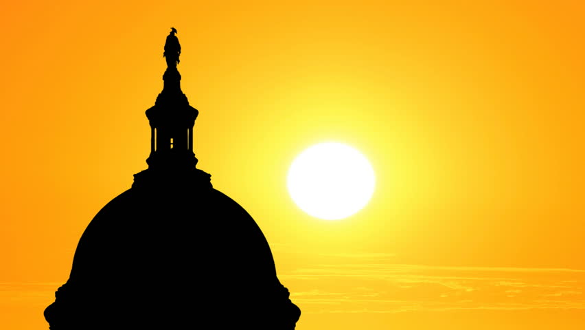 852x480 Us Capitol Dome Silhouette With Time Lapse Sunset. Stock Footage