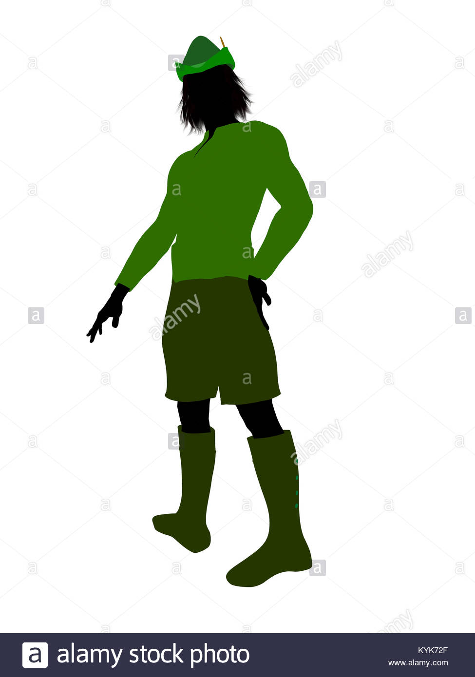 975x1390 Peter Pan Illustration Silhouette On A White Background Stock
