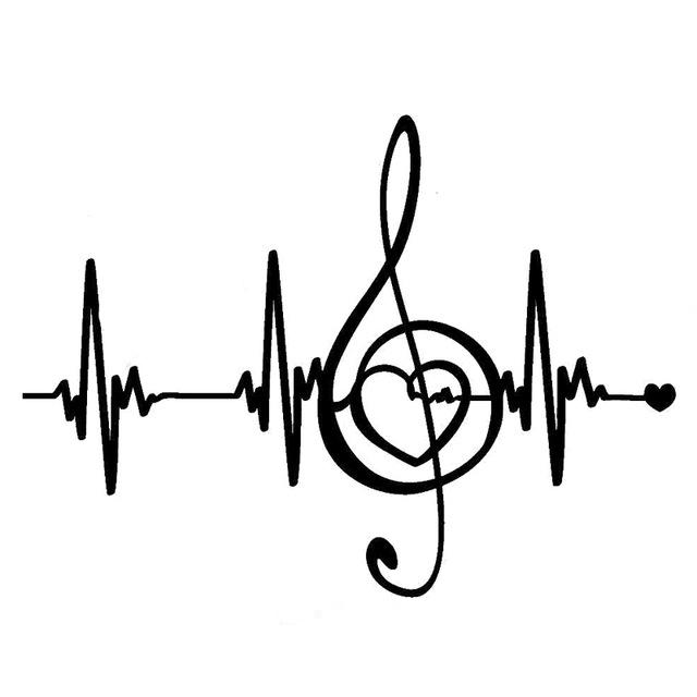 640x640 18cm13.3cm Creative Music Pulse Heartbeat Lines Vinyl Stickers