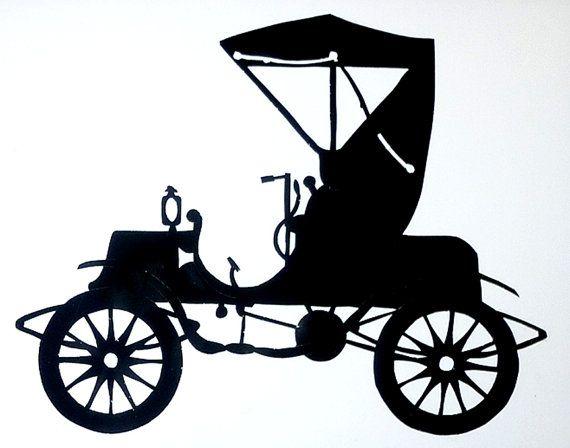 570x448 1903 Gasoline Engine Studebaker Paper Cut Silhouette Wall