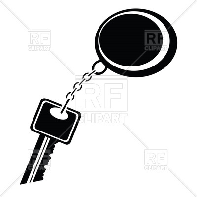 400x400 Silhouette Of Key With Keychain Royalty Free Vector Clip Art Image