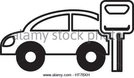 450x261 Car Vehicle Silhouette With Key Icon Stock Vector Art