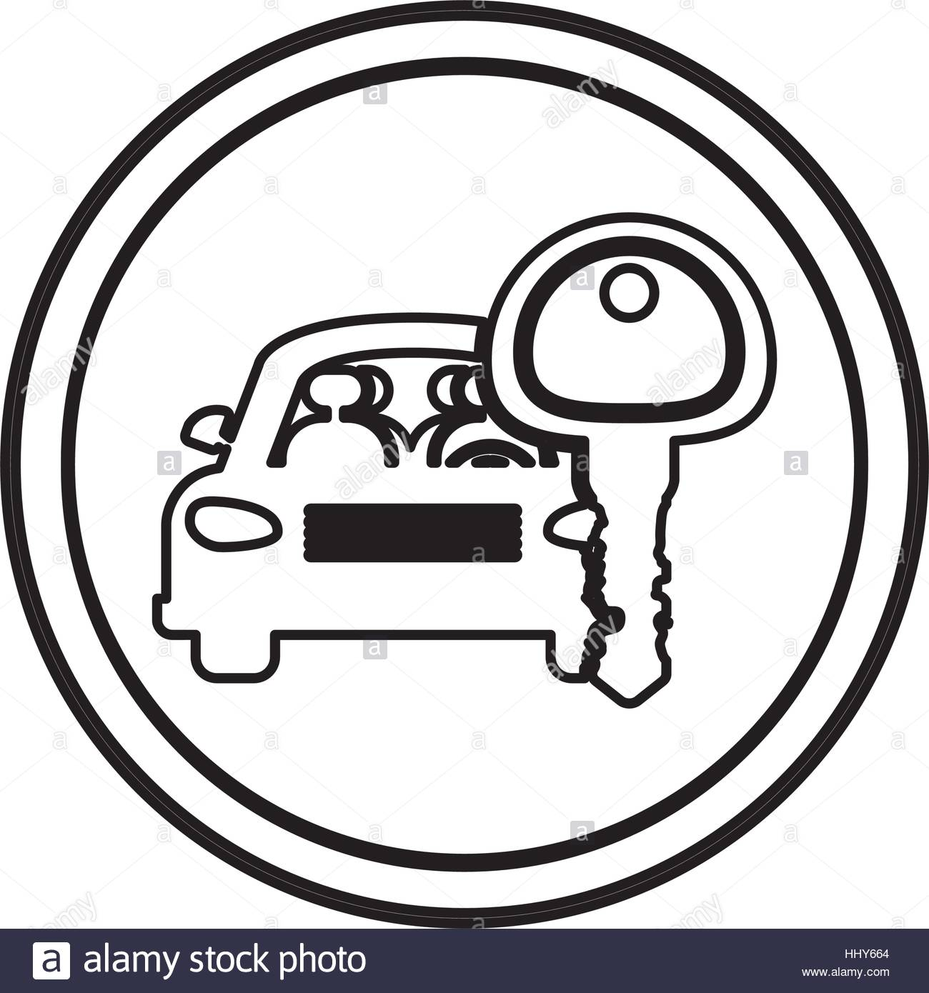 1300x1390 Silhouette Circular Border With Car And Key Vector Illustration
