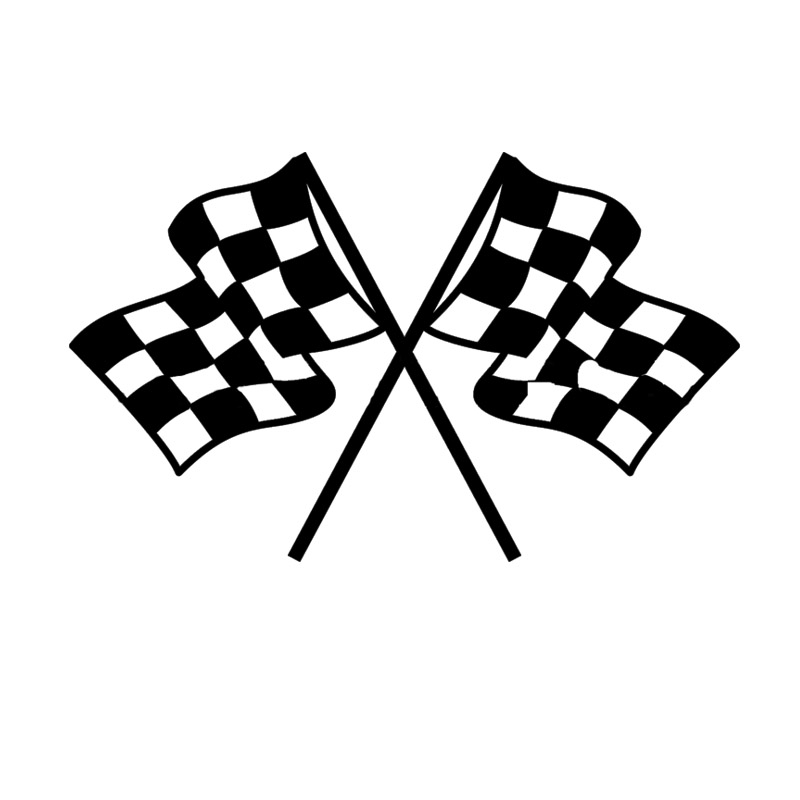 800x800 Checkered Flag Pattern Silhouette Car Styling Car Decals Bumper