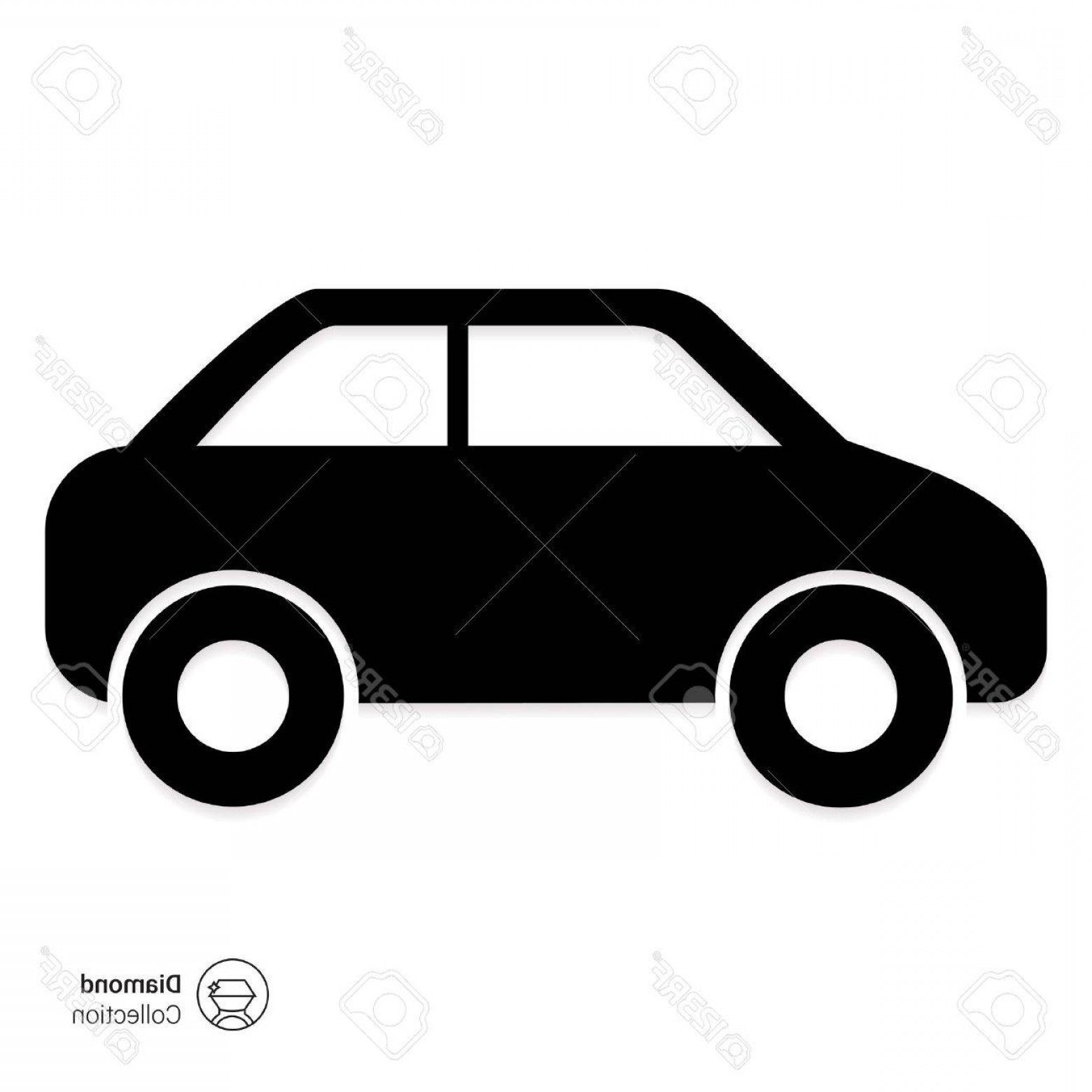 1560x1560 Photostock Vector Vector Icon Of Standing Car Silhouette Side View