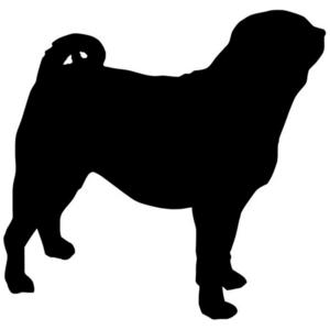 300x300 Side Silhouette Pug Car Decal