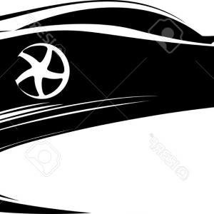 300x300 Stock Illustration Car Silhouette White Background Three Views