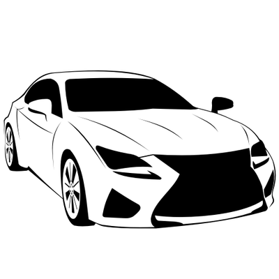 400x400 Vector Luxury Car Silhouettes Frontal Angled And Side View Clipart