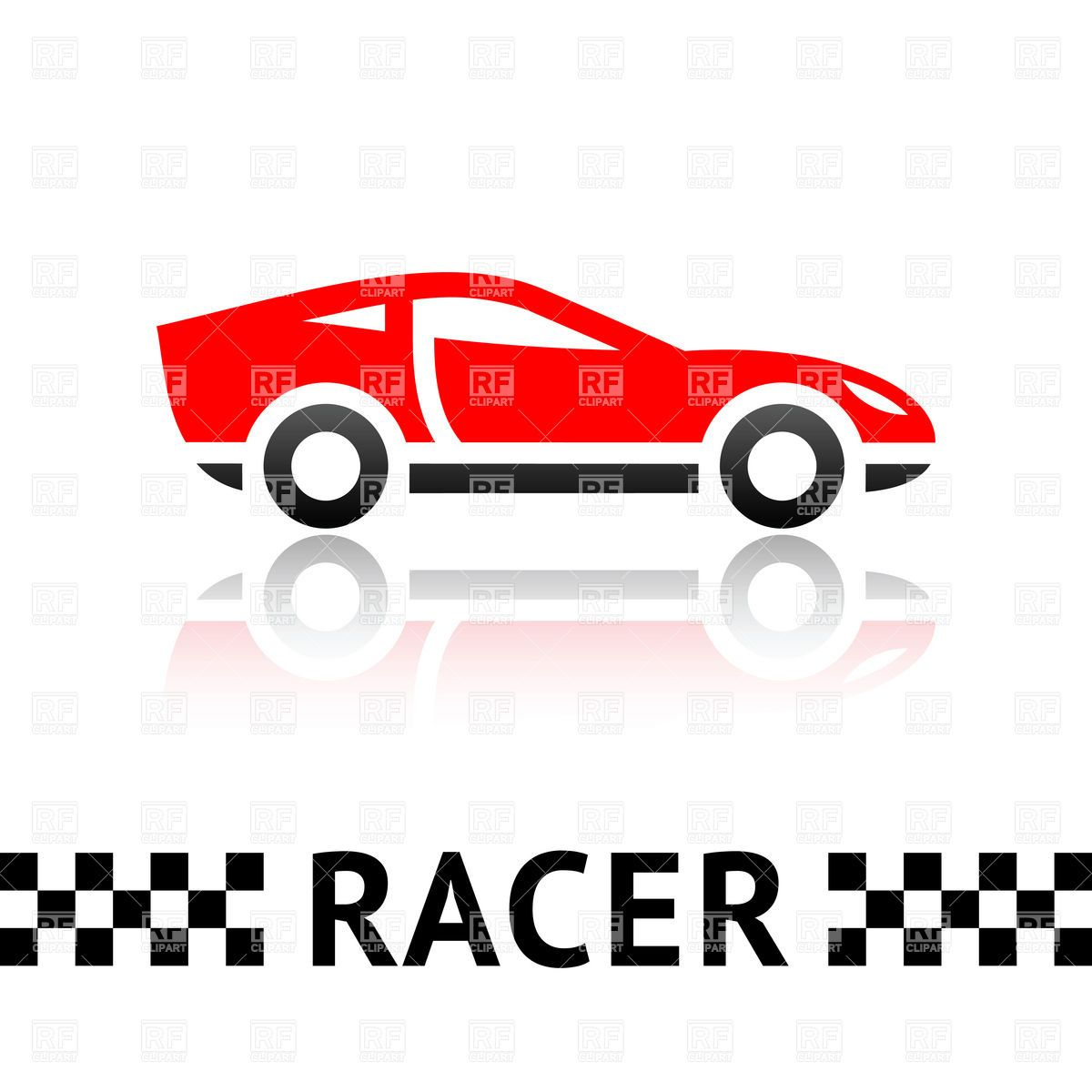1200x1200 Race Car Silhouette Clip Art Symbolic Red Racing Car Emblem