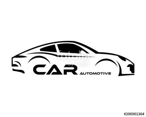 500x400 Car Symbol Logo Template, Stylized Vector Silhouette Stock Image